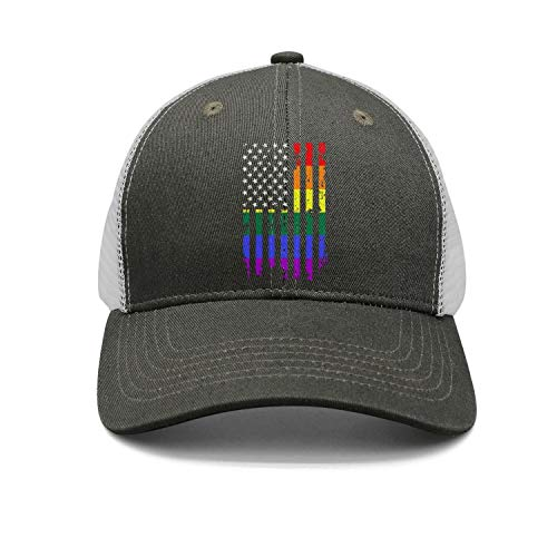- Unisex Casual Mesh Flat Cap-Distressed Rainbow Flag Gay Pride Style Adjustable Fits Travel Sunscreen Hat Outdoors