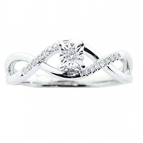 10K White Gold Diamond Promise Ring Engagement Infinity Style (i2/i3, I/j)