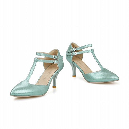 Carol Shoes Women's Fashion Sexy High Heel T-Strap Stiletto Sandals Blue Green BfVPWTf
