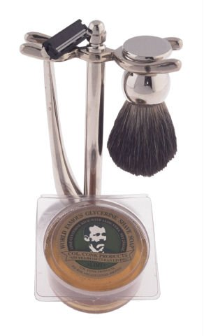 Colonel Ichabod Conk 4pc Chrome Shave Set w/ Badger Shaving Brush, Razor, Stand & Shaver Soap