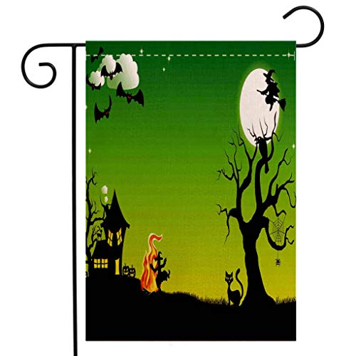 BEIVIVI Creative Home Garden Flag Halloween Decorations Witch Dancing with Fire at Halloween Ancient Western Horror Image Green Black Garden Flag Waterproof for Party Holiday Home Garden Decor