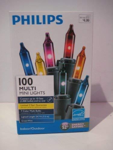 PHILIPS 100 MULTI 7 Color Mini Christmas String Lights Green