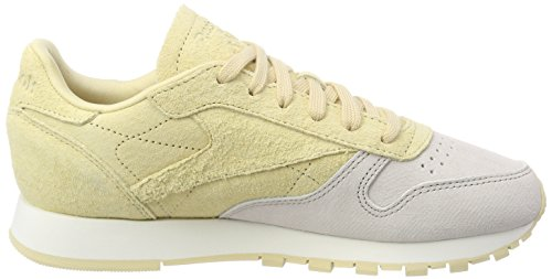 chalk Leather Femme Reebok Nbk Blanc Classic Basses Sneakers straw 50nqqXRPZ
