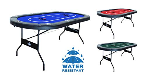 Hot Hand Poker Supply Folding Poker Table for 10 Players with Water Resistant, Speed Felt (No Assembly Required) 10 Player Poker Table Blue, 84