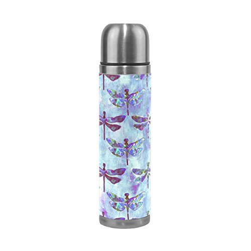 ALAZA 17 oz Retro Watercolor Dragonfly Double Wall Vacuum Cup Insulated Stainless Steel PU Leather Travel Mug, Christmas Birthday Gifts for Mom Dad Boys Girls Kids Lover - Dragonfly Travel Mug