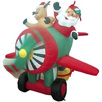 6 Foot Animated Christmas Inflatable Santa Claus And Reindeer On Helicopter  Yard Decoration