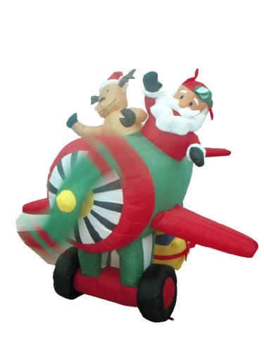 6 Foot Animated Christmas Inflatable Santa Claus and Reindeer on Helicopter Yard (Animated Christmas Decorations)