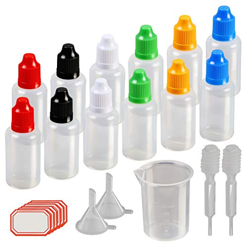 8ac3288e4ea7 Dropper Bottles,KAKOO 12 Pcs 30ml Plastic Squeezable Liquid Bottle with  Childproof Cap,Thin Tip,Funnel,Measuring Cup,Pipette for E-liquids DIY Craft