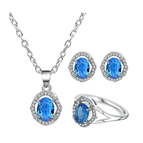 Celendi_Jewelry Set New Women's Zircon Pendant Ear Studs