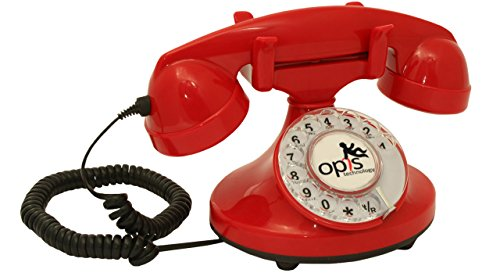 OPIS FunkyFon cable: Rotary dial disc telephone in the sinuous style of the 1920s with modern electronic bell (red)