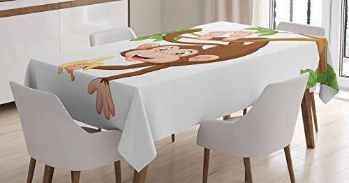 Ambesonne Cartoon Decor Tablecloth, Funny Monkey Hanging from Tree and Holding Banana Jungle Animals Theme Mascot Print, Rectangular Table Cover for Dining Room Kitchen, 60x84 inch, Chocolate White]()