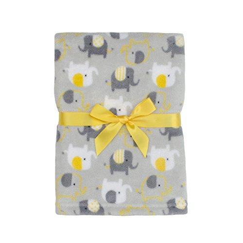 Baby Gear Plush Boa Ultra Soft Baby Boys Blanket 30 x 40 Grey Yellow Elephants (Boa Elephant Blanket)