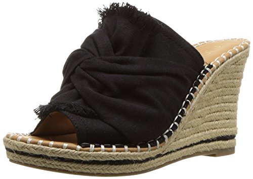 Sugar Women's Honora Slip-On Open Back Espadrille Wedge Sandal, Black Canvas, 9.5 M US