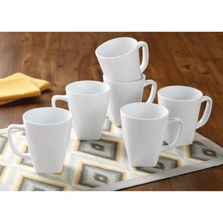 (Better Homes and Gardens Set of 6 White Square 14 oz Coffee Mugs)