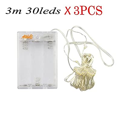 DIY light Alkbo®30 Micro LED Battery Operated String Lights 10 Feet Silver Wire 3PCS