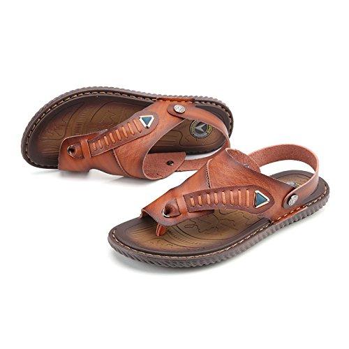 Nuovi pantaloni portatili antisdrucciolevoli dei sandali degli uomini di estate I pattini della spiaggia doppio di usura dei pattini, marrone, UK = 9.5, EU = 44