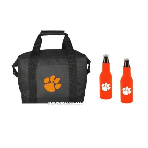NCAA Clemson Tigers 12 Pack Cooler Bag and Bottle Suit Set | Clemson Gift (Ncaa 12 Pack Cooler)