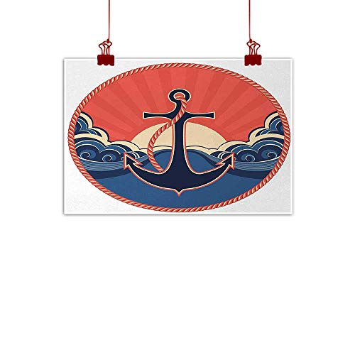(duommhome Anchor Modern Frameless Painting Navy Label with Robe and Sea Waves at Sunset Anchor Retro Aquatic Life Icons Painting Artwork of Living Room Bedroom Office W31 xL24 Red Blue Yellow )