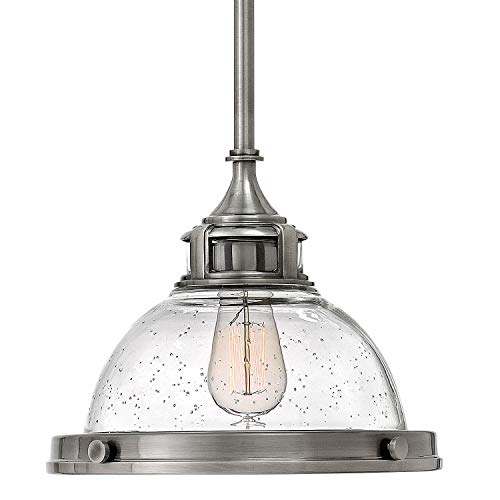 Hinkley 3123PL Restoration One Light Stem Hung Pendant from Amelia collection in Chrome, Pol. -
