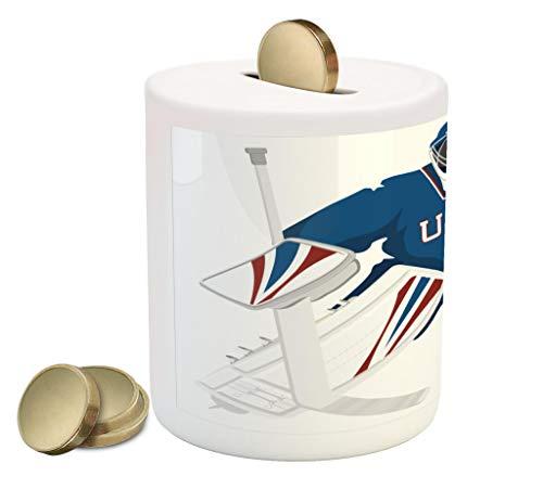 Lunarable Sports Piggy Bank, USA Hockey Goalie Protection Jersey Sport Wear Activity Hobby Illustration, Printed Ceramic Coin Bank Money Box for Cash Saving, Burgundy Blue ()