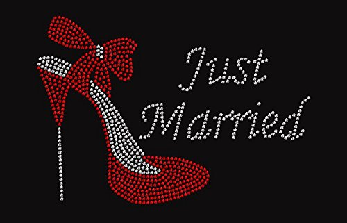 Just Married Rhinestone Iron on Transfer