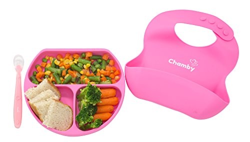 Silicone Dish for Toddler Baby Feeding Set + Bonus Non Toxic Baby Spoon & Baby Bib by Chamby - Strong Suction Baby Plate Restaurant Food Mat (Pink)