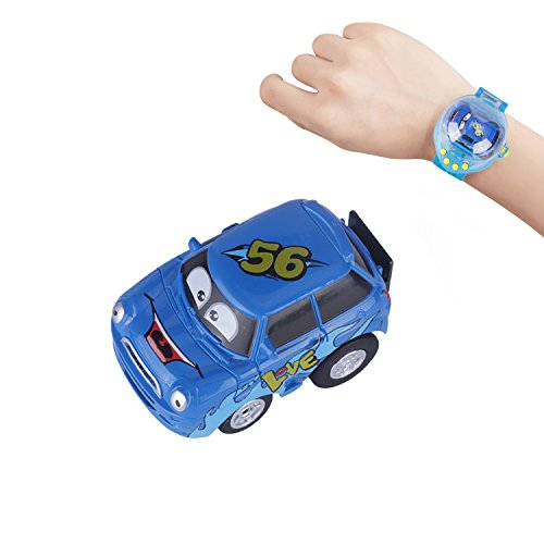 Wristbands Cars (Mini Remote Control Car Toy, Giveme5 Upgraded Gravity Sensor Mini Racer Wristband Concept RC Car Toy with USB Charge for Kids Children Hobbyist Collection (Blue - Mini Car))
