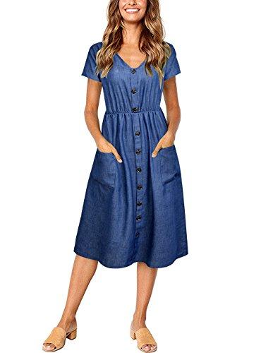 (PYL Women's Short Sleeve V Neck Button Down Swing Midi Denim Dress with Pockets)