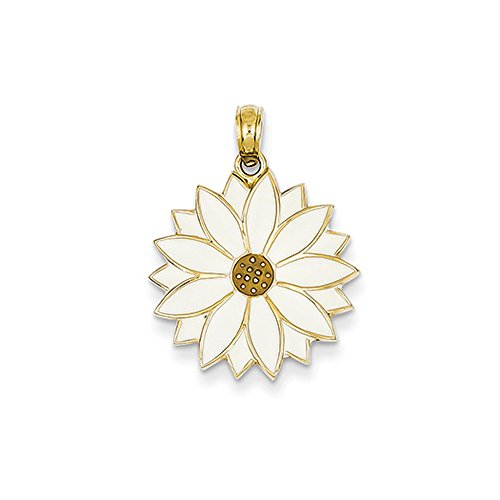 14k Yellow Gold 19mm White Enameled Daisy Blossom - Daisy Enameled Gold
