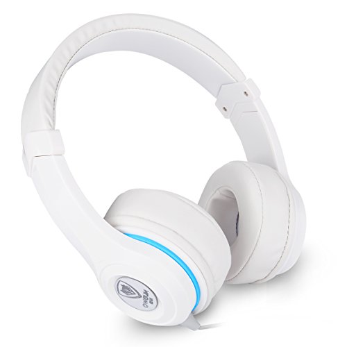 NUBWO Headphones Over Ear Adjustable Lightweight for Adults Kids 3.5mm PS4 Noise Cancelling Headset with Microphone & In-line Control for Cellphone,PS4,Laptop,Tablet(White)