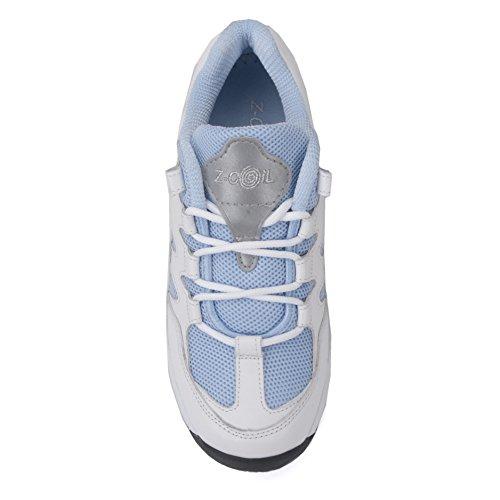 Scarpe Antinfortunistiche Antinfortunistiche Per Donna Antinfortunistiche Antiscivolo Scarpe Da Tennis In Pelle Blu Cielo Bianche / Blu Scuro
