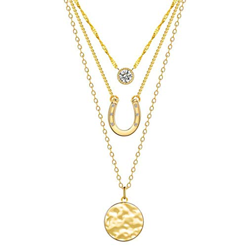 Blinkingstare Gold Layered Necklace for Women - 14k Gold Plated Horseshoe Wafer AAAAA Cubic Zirconia Drop Necklaces Idea Gift for Christmas Day