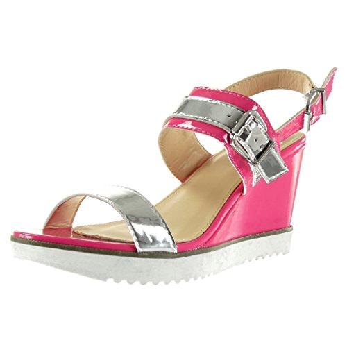 Angkorly - Zapatillas de Moda Sandalias Mules suela de zapatillas Correa de tobillo mujer brillantes Hebilla Talón Plataforma 9 CM - Fushia