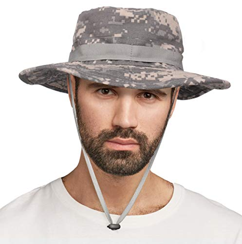 Wide Brim Boonie Hat Excellent Bucket Hat for Fishing, Hiking, Hunting, Safari Trips Or Any Other Outdoor Activities (Light Gray Camouflage)
