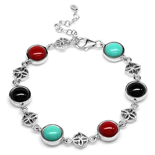 Created Green Turquoise, Onyx & Coral 925 Sterling Silver Flower Celtic Knot 7-8.5 Adj. Bracelet (Onyx Turquoise Silver)