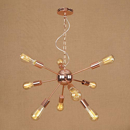 (Ganeep 9-Light Creative Rose Gold Wrought Iron Chandelier Modern E27 Edison Light Bulb Pendant Lighting Brushed Nickel Vintage Hanging Chain Ceiling Light Fixture (Size : 9-Light))