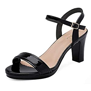 DREAM PAIRS Women's Open Toe Chunky High Heels Dress Pump Heel Sandals