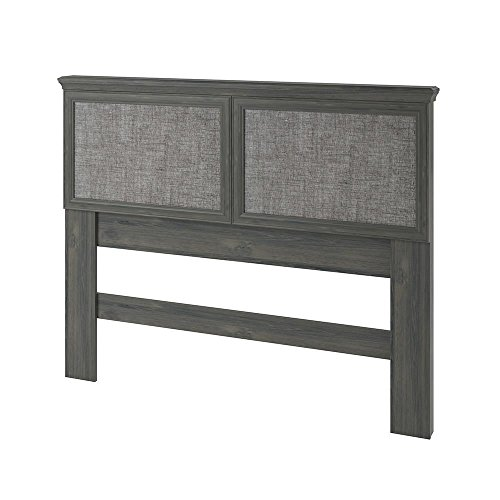 Ameriwood Home Stone River Full/Queen Headboard with Fabric Inserts, Weathered Oak For Sale