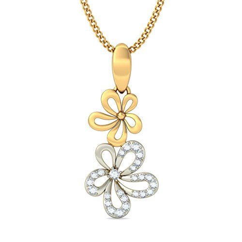 14 K Or jaune 0,14 CT TW Round-cut-diamond (IJ | SI) Pendentif