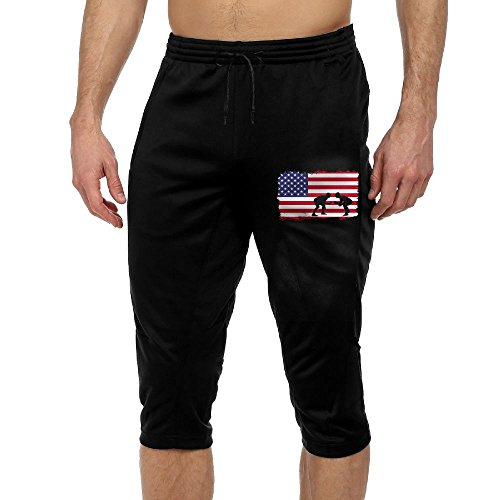 American Flag Wrestling Exercise Man Vintage Casual Durable French Terry Knee Pants by BigManPants