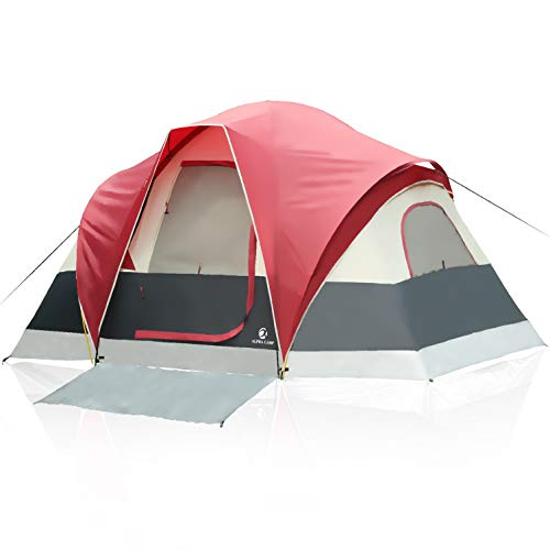 - ALPHA CAMP 6 Person Tent Extended Dome Tent for Camping - 12' x 10'
