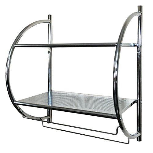 - TANGKULA 2-Tier Shelf with Towel Bar Wall Mount Bathroom Toilet Organizer Storage Shelf