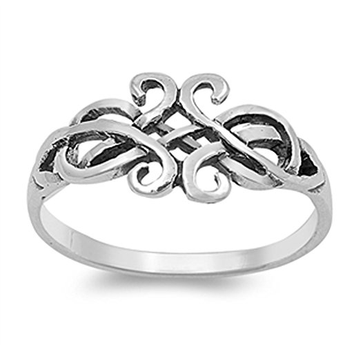 - Oxidized Celtic Knot Criss Cross Knot Ring .925 Sterling Silver Band Size 9