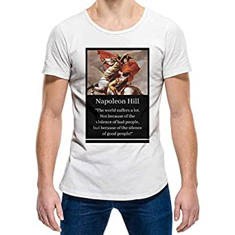 Napoleon Hill White Round Neck T-Shirt For Unisex
