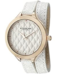 Women's 'Vogue' Quartz Stainless Steel and Leather Casual Watch, Color:White (Model: 658.03)