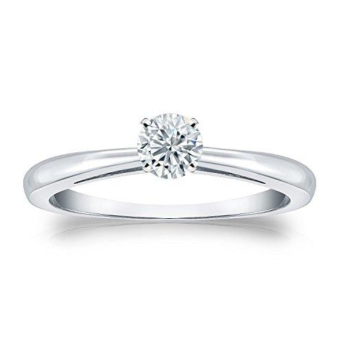 1/3 Ct Tw Ring - Diamond Wish 14k White Gold Round Solitaire Diamond Engagement Ring (1/3 carat TW, J-L, I2-I3) 4-Prong Set, Size 7.5