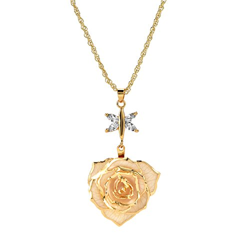 ZJchao 24K Gold Plated Necklace Flower Pendant with Crystal Rose Necklaces Chains Jewelry Gift for Her