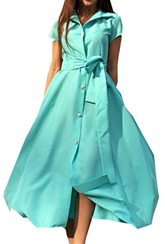 Top Robe Femme Vert Dress Midi Casual Chemisier Taille Robes Boutons Robe Ceinture Robe haute Chemise Courtes Long Manches Y55Aw0