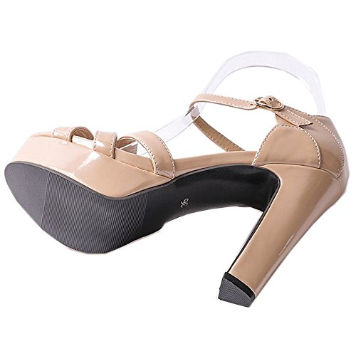 Women's apricot Strappy Heel Platform Summer High Sandals LongFengMa Shoes Sexy ZAnOfxf