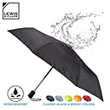 Lewis N. Clark Travel Umbrella: Windproof & Water Repellent with Mildew Resistant Fabric, Automatic Open Close & 1 Year Warranty. - Black
